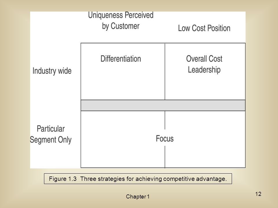 Chapter 1 Figure 1.3 Three strategies for achieving competitive advantage. 12