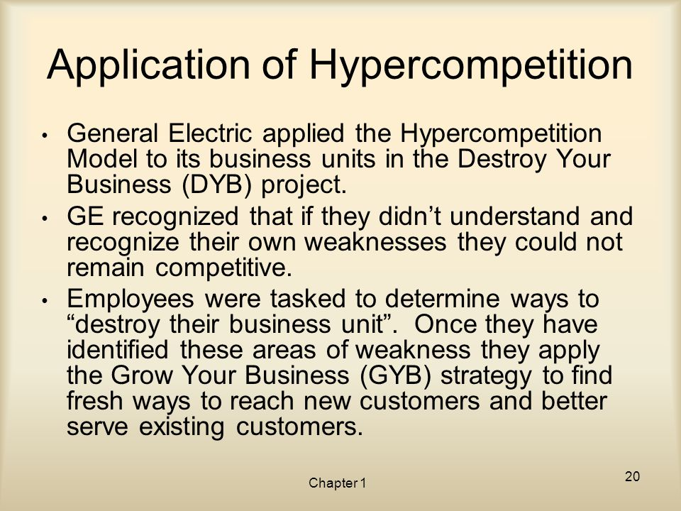 Chapter 1 Application of Hypercompetition General Electric applied the Hypercompetition Model to its business units in the Destroy Your Business (DYB)