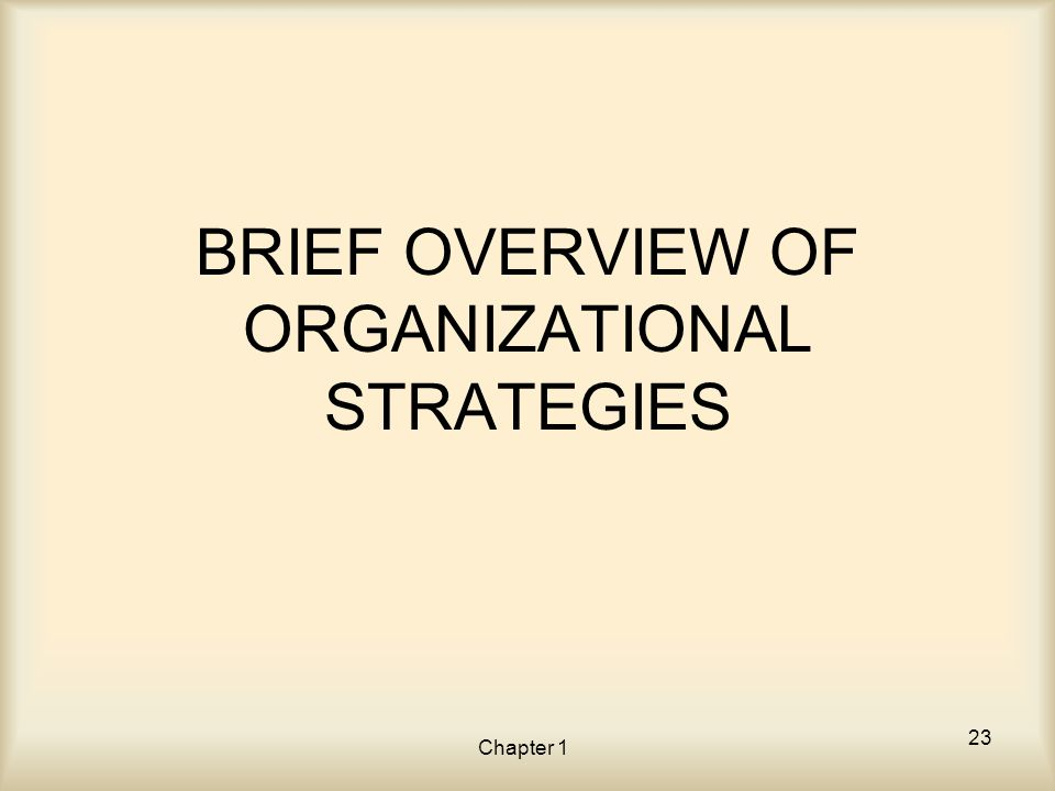Chapter 1 BRIEF OVERVIEW OF ORGANIZATIONAL STRATEGIES 23