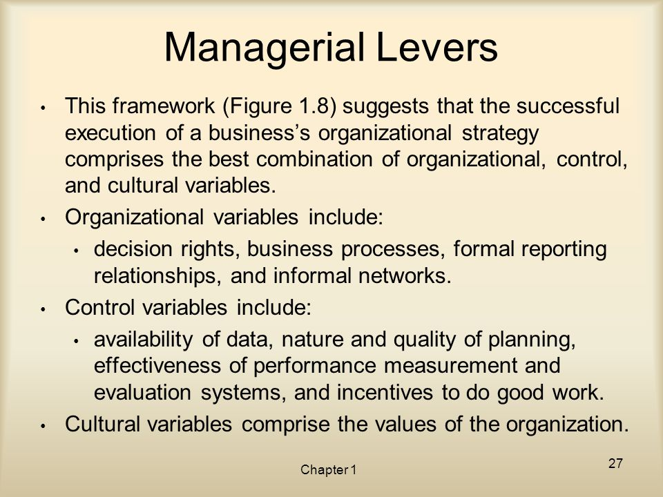 Managerial Levers This framework (Figure 1.8) suggests that the successful execution of a business's organizational strategy comprises the best combin