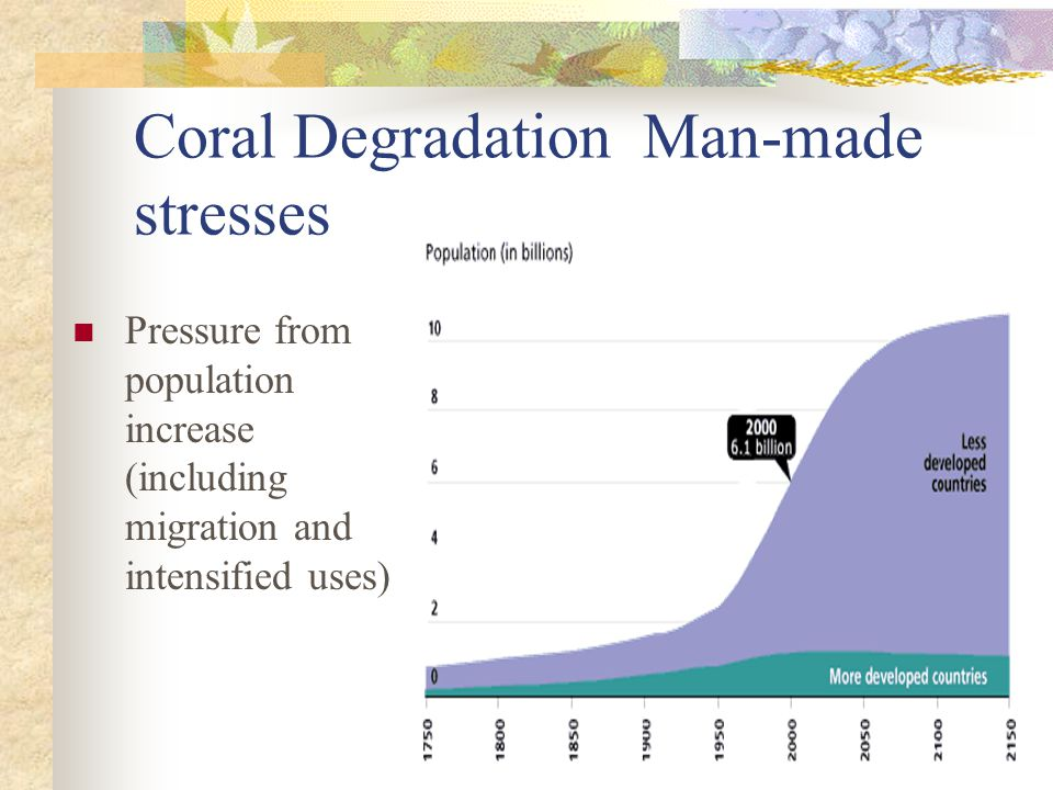 Coral Degradation Man-made stresses Pressure from population increase (including migration and intensified uses)