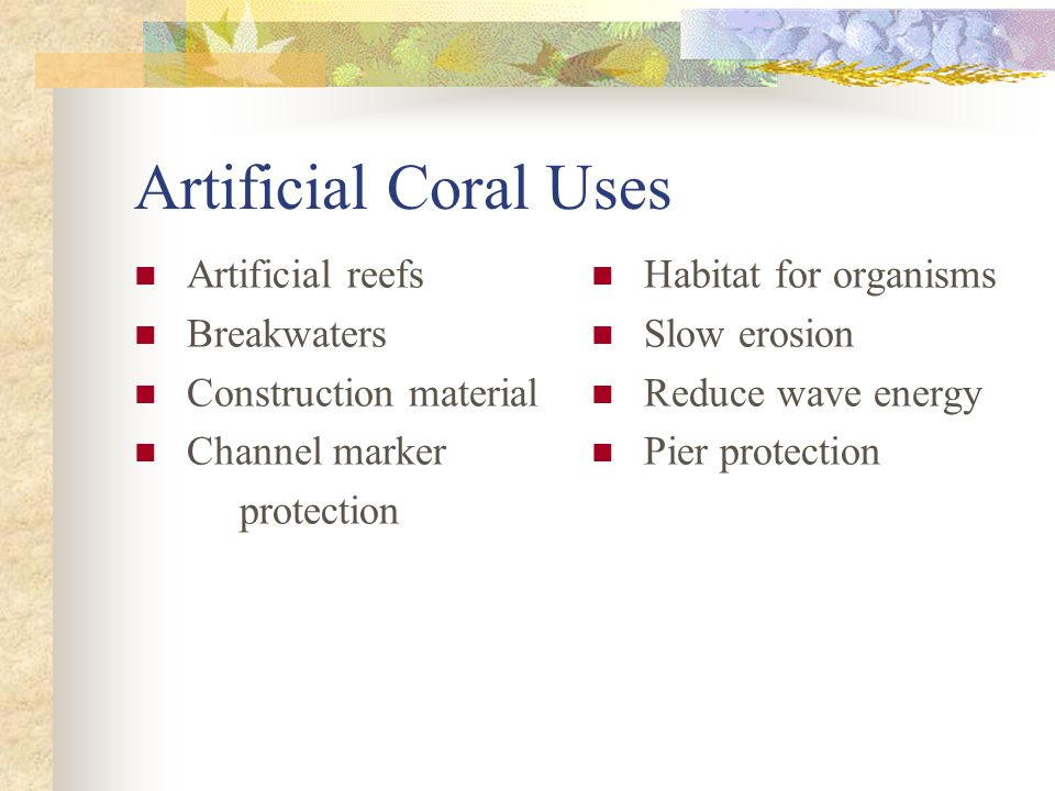 Artificial Coral Uses Artificial reefs Breakwaters Construction material Channel marker protection Habitat for organisms Slow erosion Reduce wave energy Pier protection