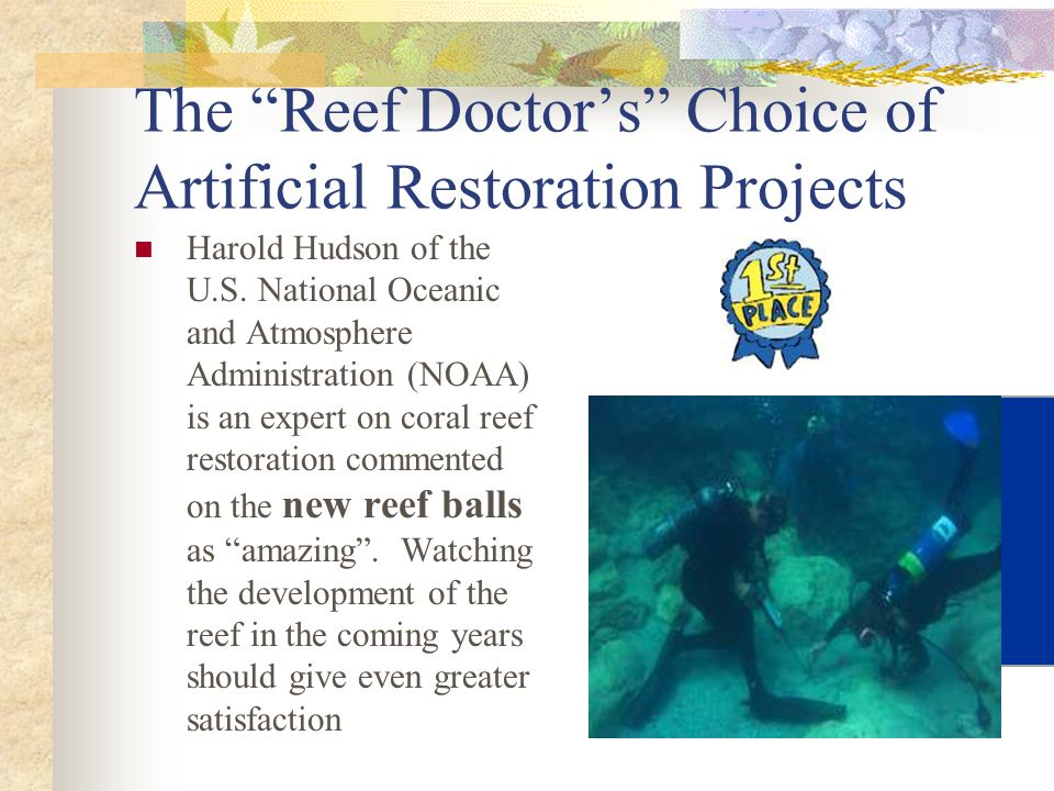 The Reef Doctor's Choice of Artificial Restoration Projects Harold Hudson of the U.S.