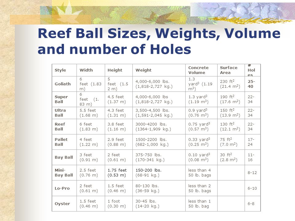 Reef Ball Sizes, Weights, Volume and number of Holes StyleWidthHeightWeight Concrete Volume Surface Area # Hol es Goliath 6 feet (1.83 m) 5 feet (1.5 2 m) 4,000-6,000 lbs.