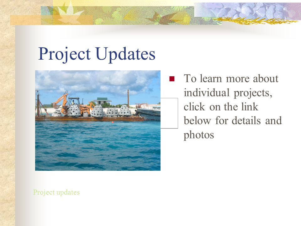 Project Updates To learn more about individual projects, click on the link below for details and photos Project updates