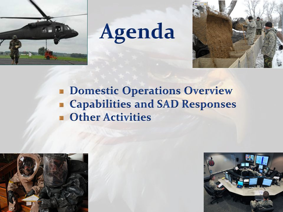 3 WING Resources Personnel –2,222 Air Force –7,961 Army –10,138 Total Facilities –69 Armories –11 Maintenance Shops (Army) –2 Army Aviation Support Facilities –4 Air Force Installations ~2,200 Full Time