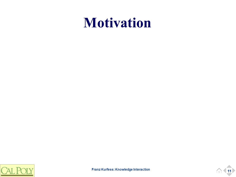 11 Franz Kurfess: Knowledge Interaction Motivation 11