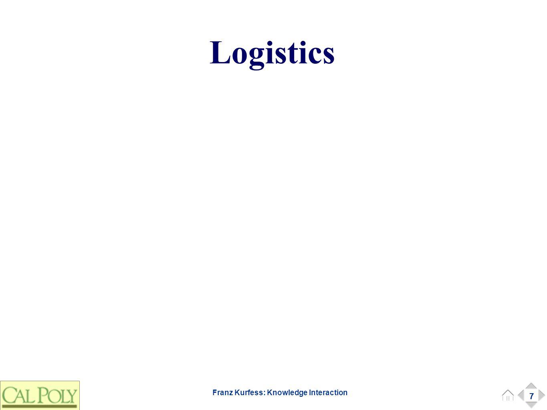 7 Franz Kurfess: Knowledge Interaction Logistics 7