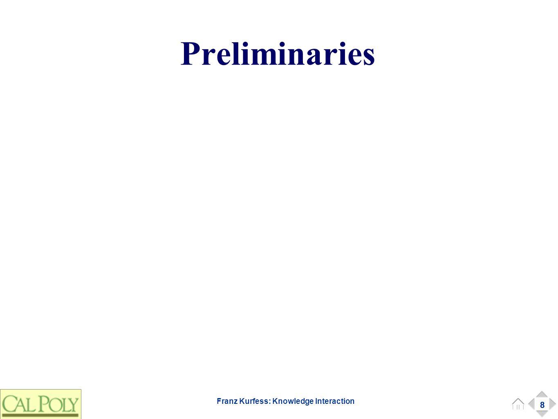 39 Franz Kurfess: Knowledge Interaction Summary Knowledge Interaction 39