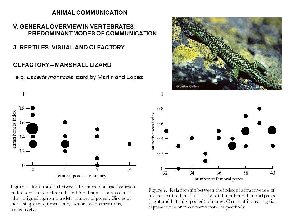 ANIMAL COMMUNICATION V. GENERAL OVERVIEW IN VERTEBRATES: PREDOMINANT MODES OF COMMUNICATION 3.