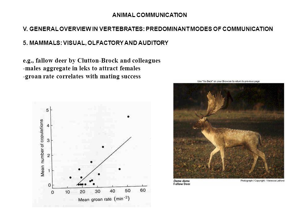 ANIMAL COMMUNICATION V. GENERAL OVERVIEW IN VERTEBRATES: PREDOMINANT MODES OF COMMUNICATION 5.