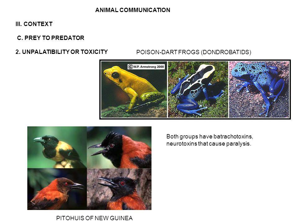 ANIMAL COMMUNICATION III. CONTEXT C. PREY TO PREDATOR 2.