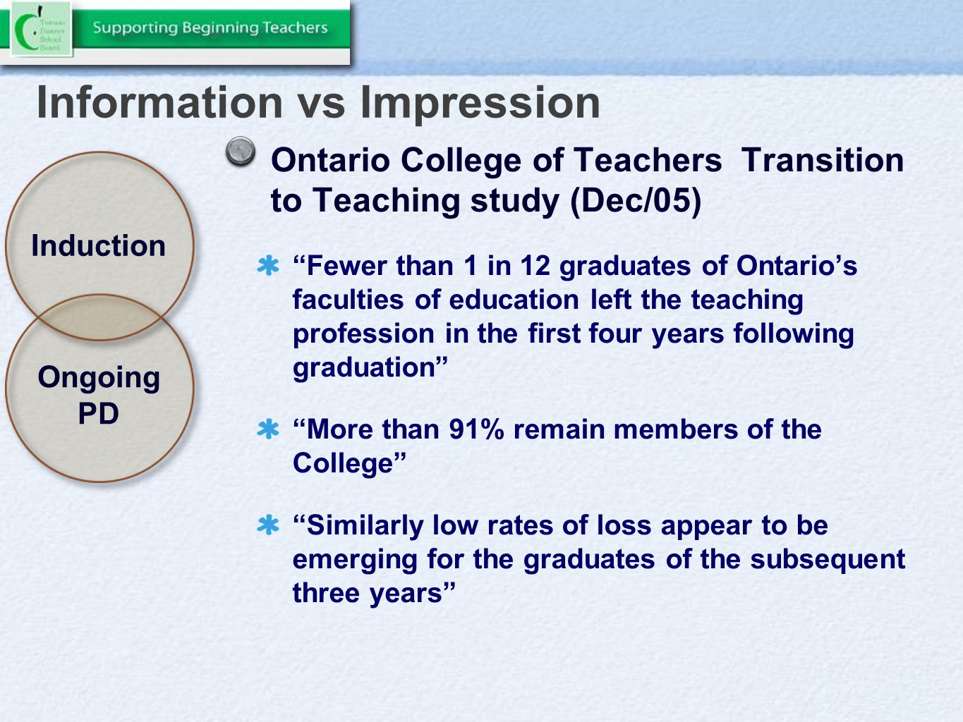 Information vs Impression Induction Ongoing PD Ontario College of Teachers Transition to Teaching study (Dec/05) Fewer than 1 in 12 graduates of Ontario's faculties of education left the teaching profession in the first four years following graduation More than 91% remain members of the College Similarly low rates of loss appear to be emerging for the graduates of the subsequent three years