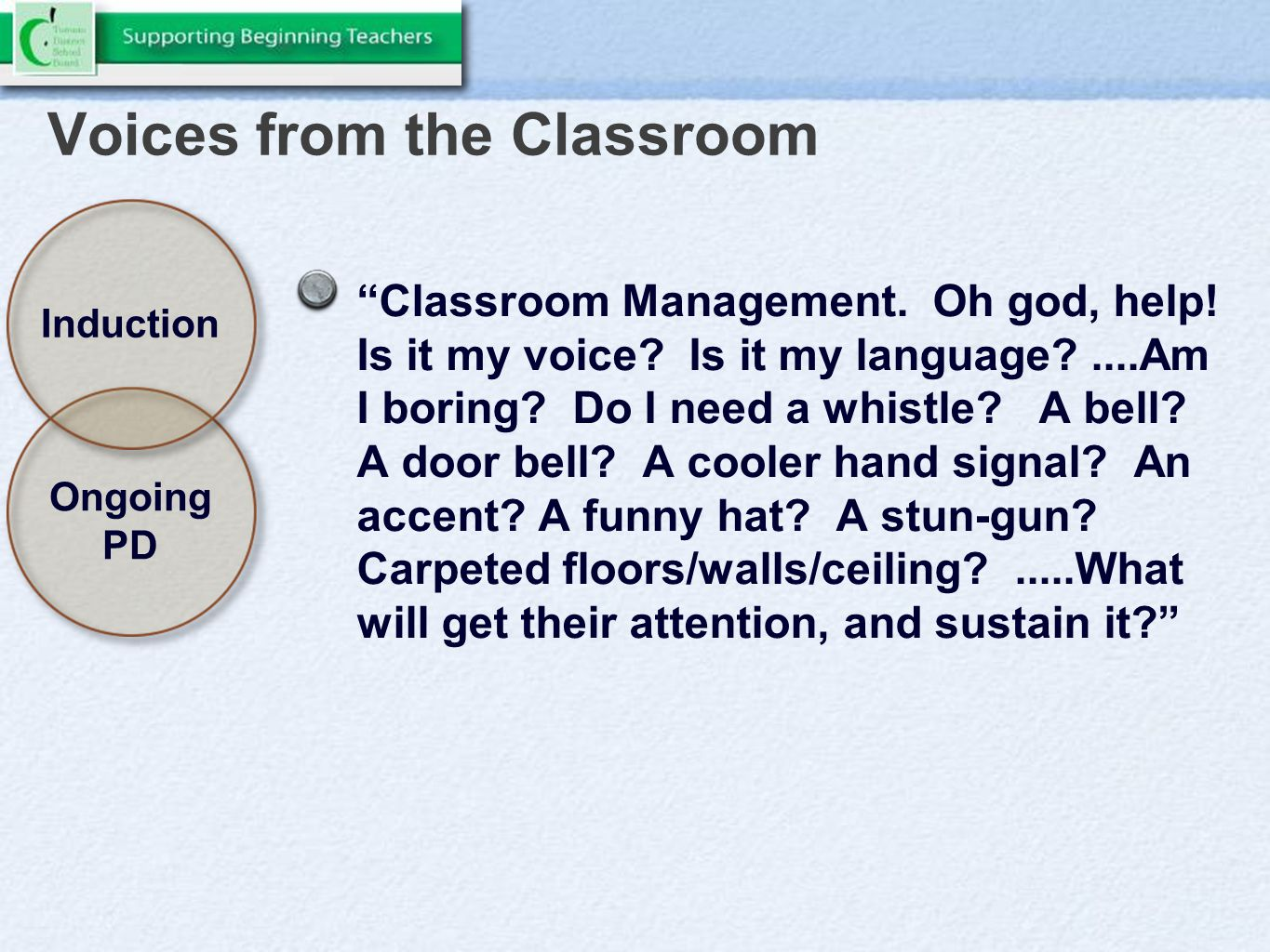 Voices from the Classroom Classroom Management. Oh god, help.