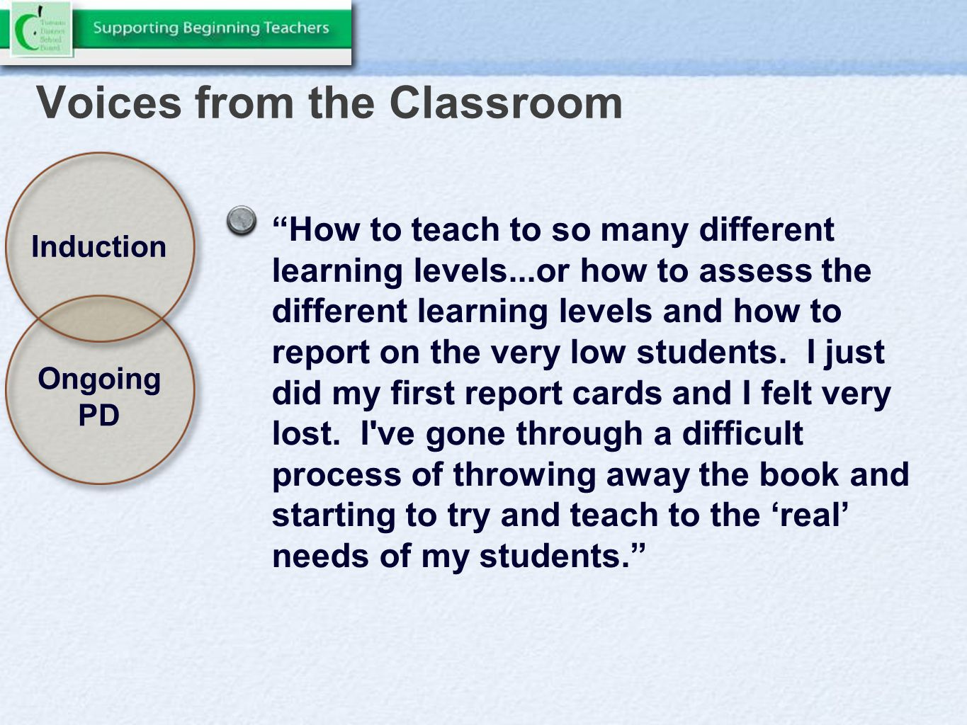 Voices from the Classroom How to teach to so many different learning levels...or how to assess the different learning levels and how to report on the very low students.
