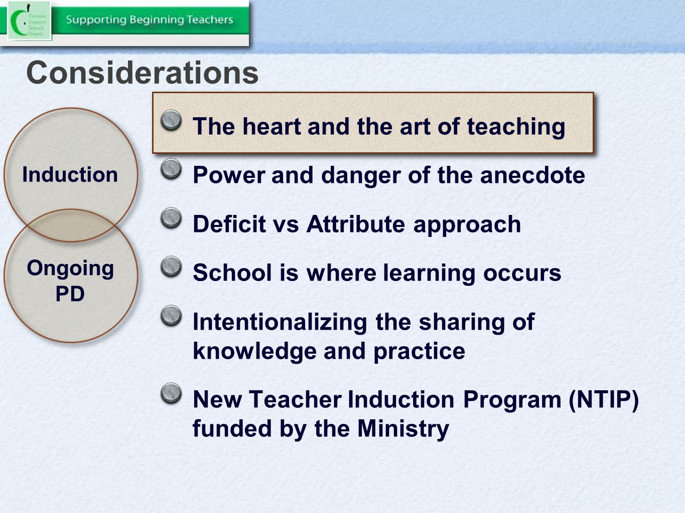 Considerations The heart and the art of teaching Power and danger of the anecdote Deficit vs Attribute approach School is where learning occurs Intentionalizing the sharing of knowledge and practice New Teacher Induction Program (NTIP) funded by the Ministry Induction Ongoing PD