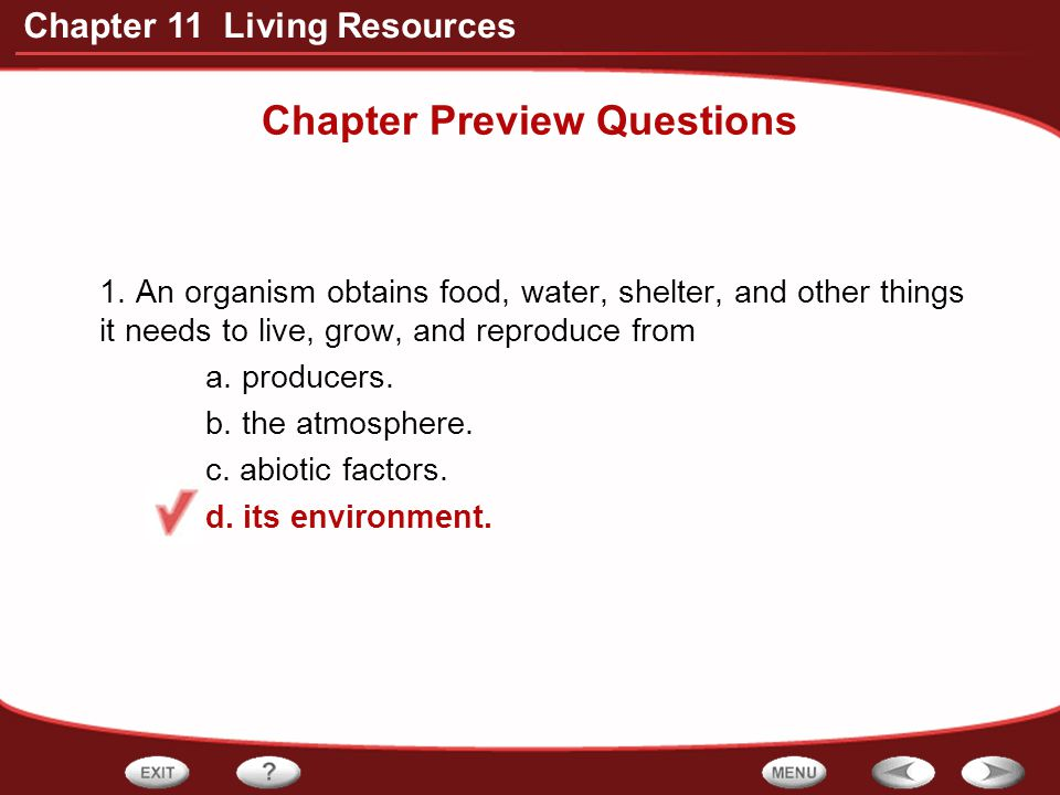 Chapter 11 Living Resources Chapter Preview Questions 2.
