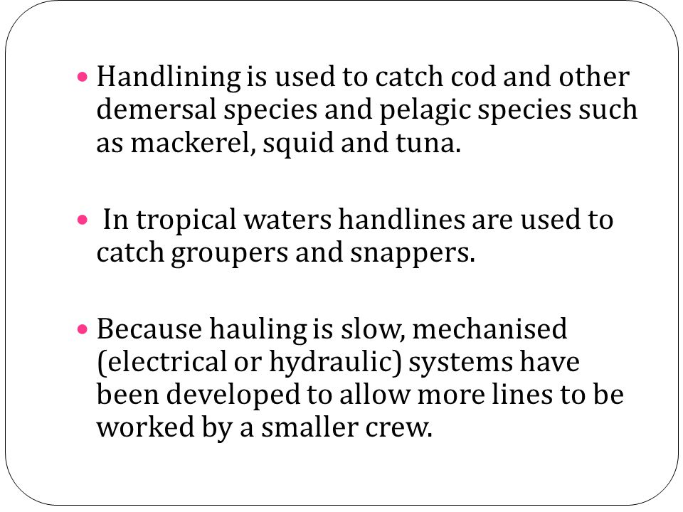 Handlining is used to catch cod and other demersal species and pelagic species such as mackerel, squid and tuna. In tropical waters handlines are used