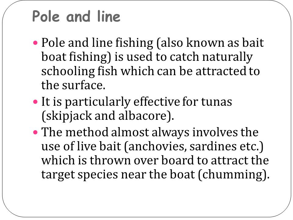 Pole and line Pole and line fishing (also known as bait boat fishing) is used to catch naturally schooling fish which can be attracted to the surface.