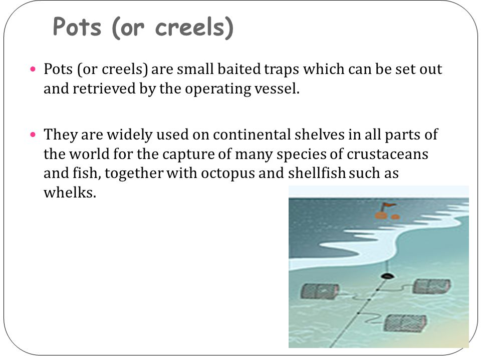 Pots (or creels) Pots (or creels) are small baited traps which can be set out and retrieved by the operating vessel.