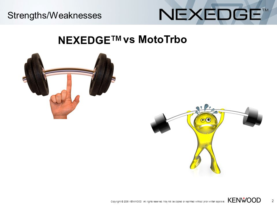 Strengths/Weaknesses Copyright © 2005 KENWOOD All rights reserved.