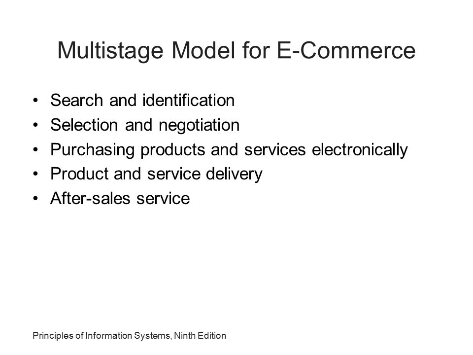 Principles of Information Systems, Ninth Edition Multistage Model for E-Commerce Search and identification Selection and negotiation Purchasing produc