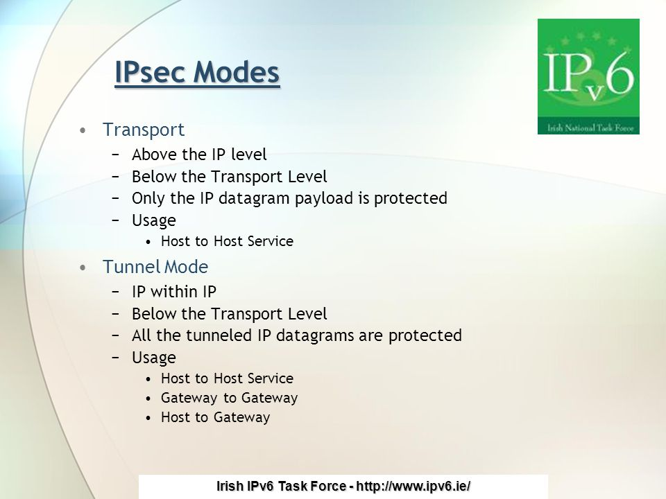 Irish IPv6 Task Force - http://www.ipv6.ie/ IPsec Modes Transport −Above the IP level −Below the Transport Level −Only the IP datagram payload is protected −Usage Host to Host Service Tunnel Mode −IP within IP −Below the Transport Level −All the tunneled IP datagrams are protected −Usage Host to Host Service Gateway to Gateway Host to Gateway