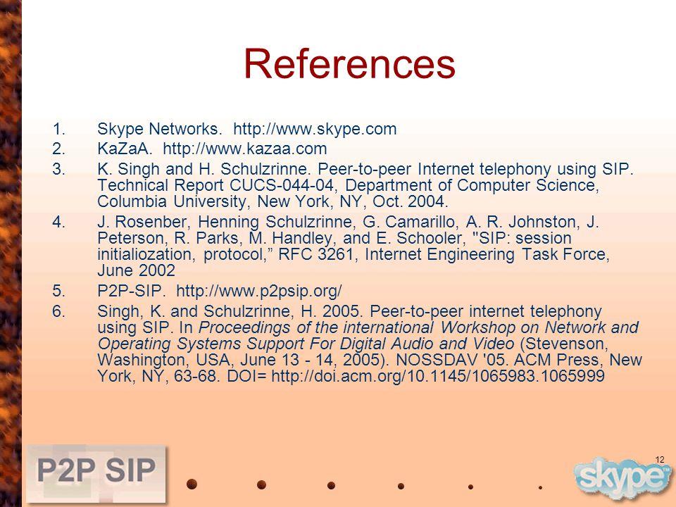 12 References 1.Skype Networks. http://www.skype.com 2.KaZaA.