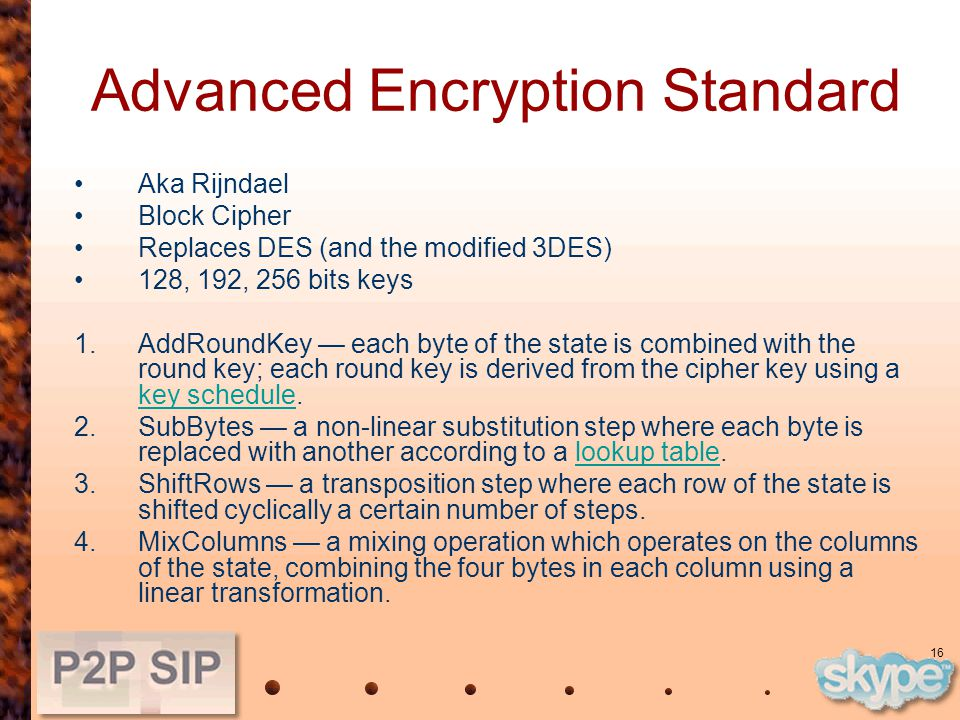 16 Advanced Encryption Standard Aka Rijndael Block Cipher Replaces DES (and the modified 3DES) 128, 192, 256 bits keys 1.AddRoundKey — each byte of the state is combined with the round key; each round key is derived from the cipher key using a key schedule.