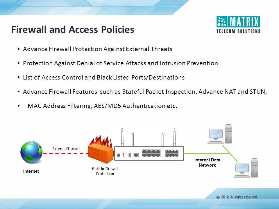 Built-in Firewall Protection Internal Data Network Internet External Threats Firewall and Access Policies Advance Firewall Protection Against External