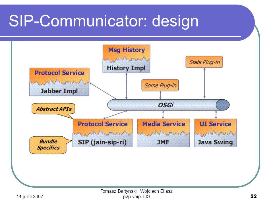 14 june 2007 Tomasz Bartynski Wojciech Eliasz p2p-voip LIG22 SIP-Communicator: design