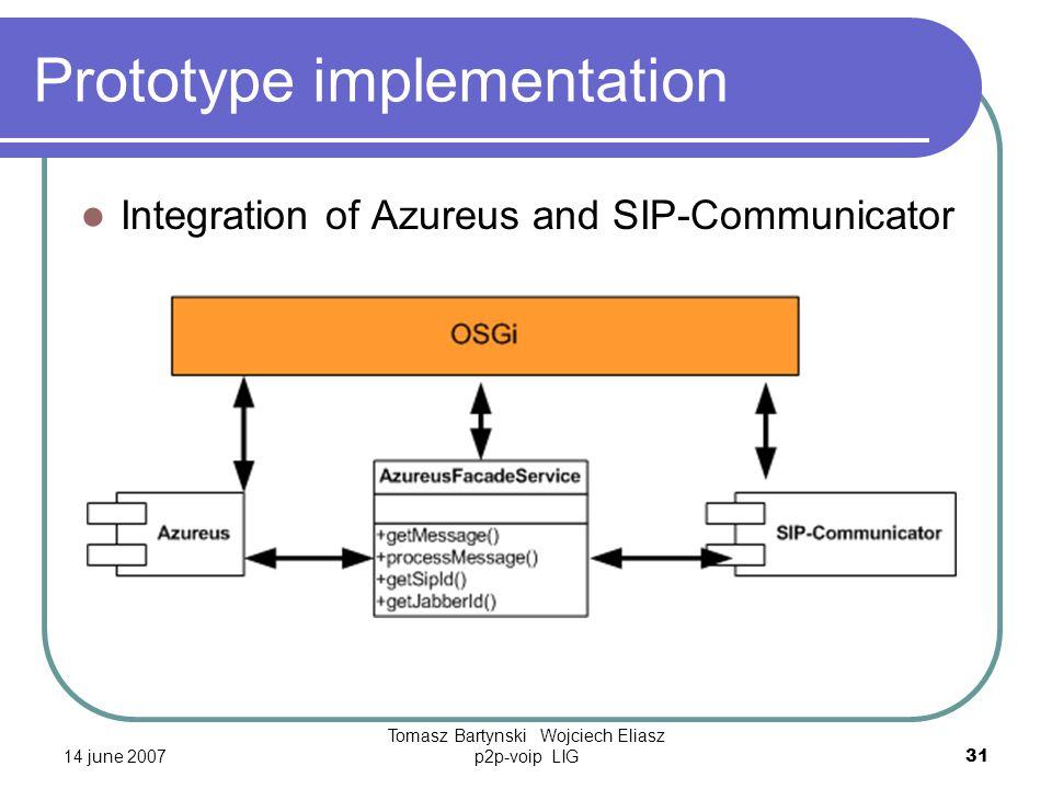 14 june 2007 Tomasz Bartynski Wojciech Eliasz p2p-voip LIG31 Prototype implementation Integration of Azureus and SIP-Communicator
