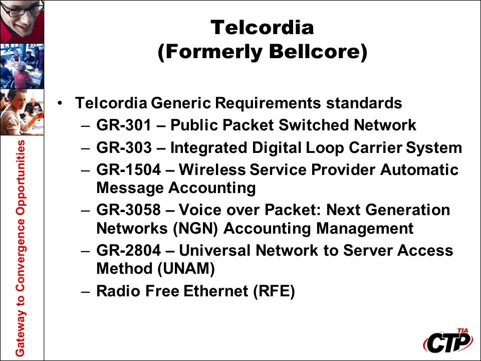 Telcordia (Formerly Bellcore) Telcordia Generic Requirements standards –GR-301 – Public Packet Switched Network –GR-303 – Integrated Digital Loop Carr