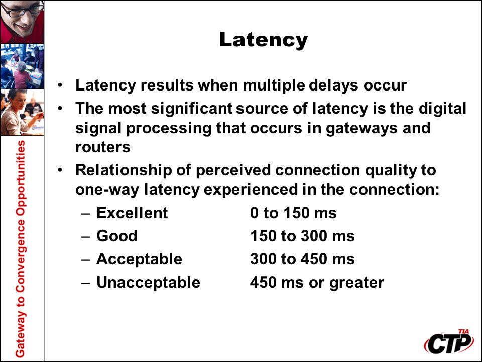 Latency Latency results when multiple delays occur The most significant source of latency is the digital signal processing that occurs in gateways and routers Relationship of perceived connection quality to one-way latency experienced in the connection: –Excellent0 to 150 ms –Good150 to 300 ms –Acceptable300 to 450 ms –Unacceptable450 ms or greater