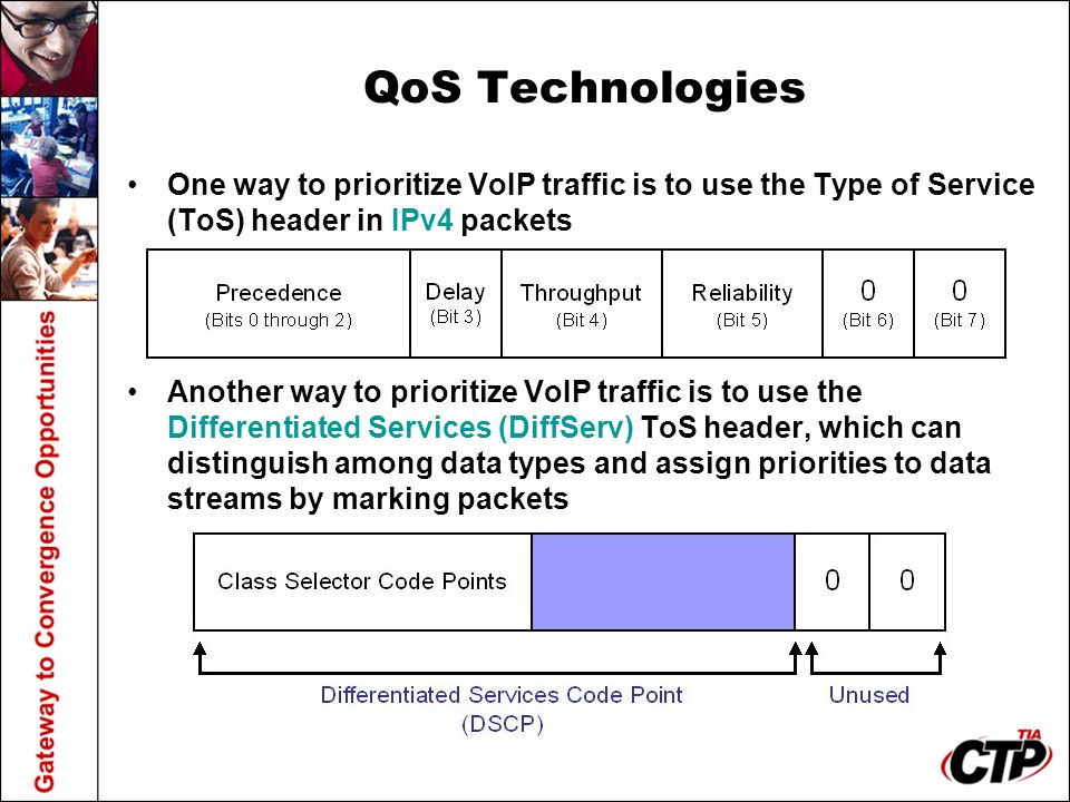 QoS Technologies One way to prioritize VoIP traffic is to use the Type of Service (ToS) header in IPv4 packets Another way to prioritize VoIP traffic is to use the Differentiated Services (DiffServ) ToS header, which can distinguish among data types and assign priorities to data streams by marking packets