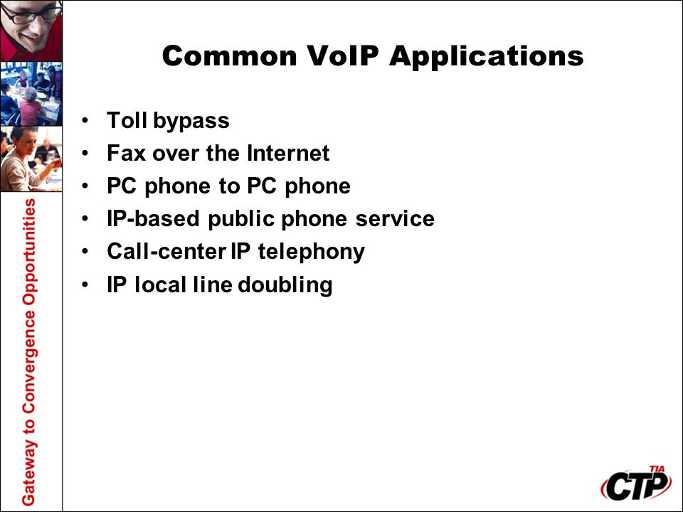 Common VoIP Applications Toll bypass Fax over the Internet PC phone to PC phone IP-based public phone service Call-center IP telephony IP local line doubling