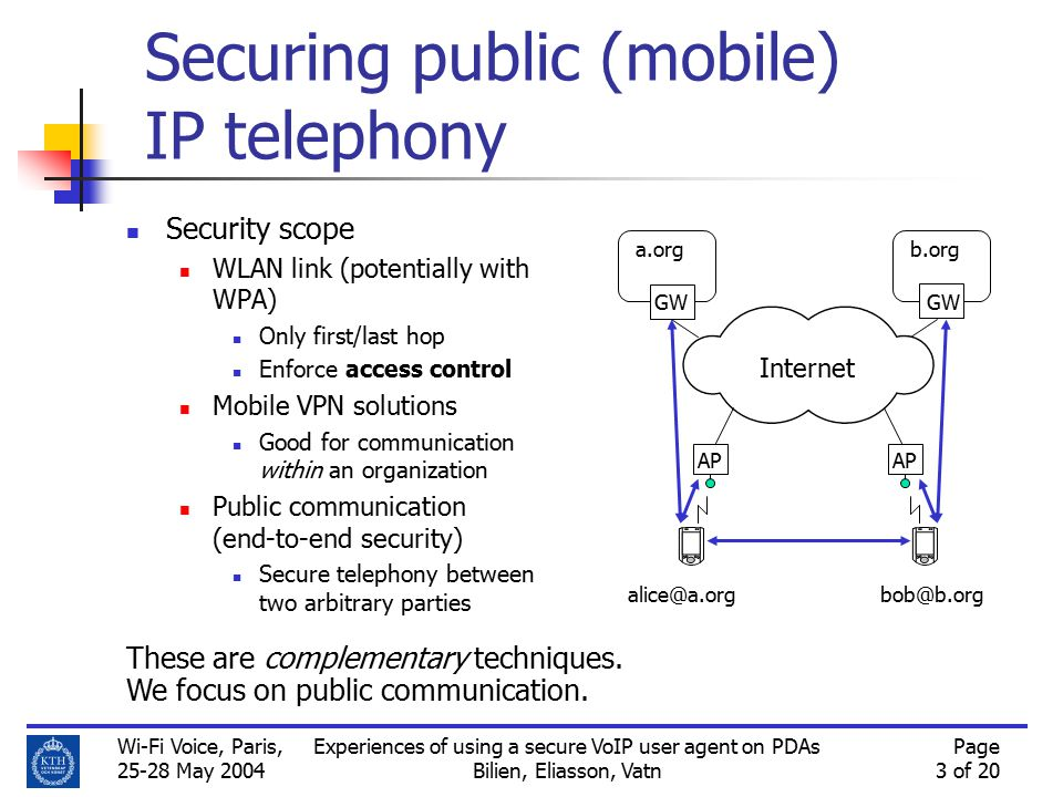 Wi-Fi Voice, Paris, 25-28 May 2004 Experiences of using a secure VoIP user agent on PDAs Bilien, Eliasson, Vatn Page 3 of 20 Securing public (mobile) IP telephony Security scope WLAN link (potentially with WPA) Only first/last hop Enforce access control Mobile VPN solutions Good for communication within an organization Public communication (end-to-end security) Secure telephony between two arbitrary parties AP a.org GW b.org alice@a.org AP bob@b.org GW Internet These are complementary techniques.