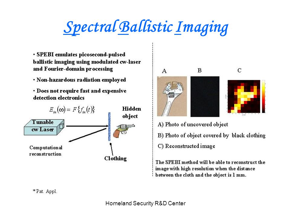 Homeland Security R&D Center Spectral Ballistic Imaging