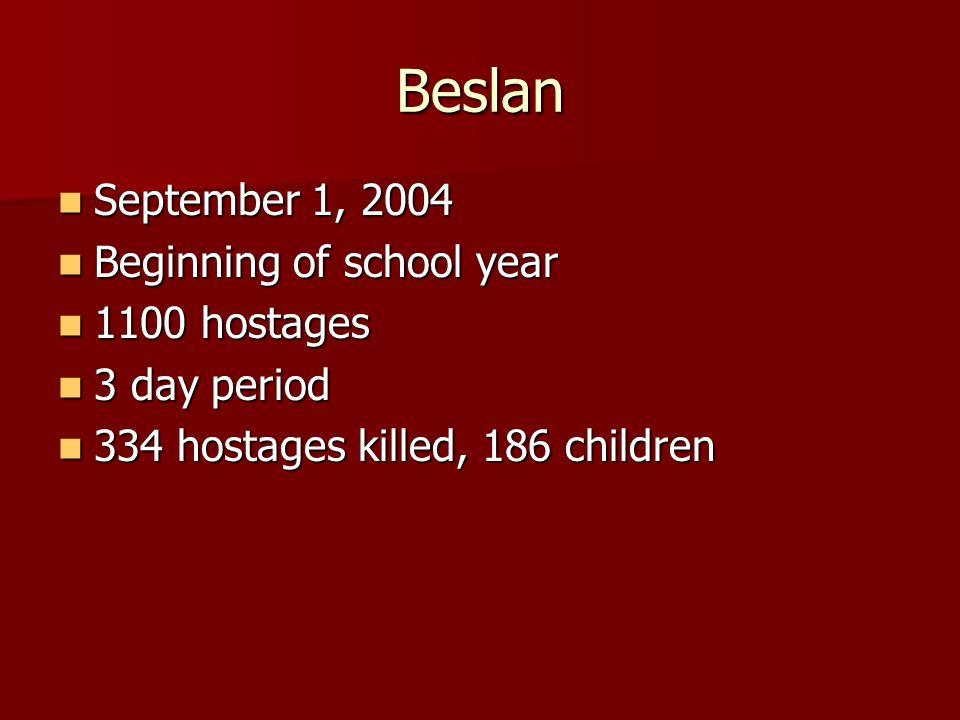 Beslan September 1, 2004 September 1, 2004 Beginning of school year Beginning of school year 1100 hostages 1100 hostages 3 day period 3 day period 334 hostages killed, 186 children 334 hostages killed, 186 children