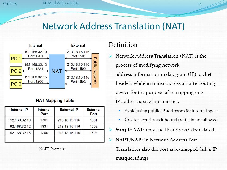 Network Address Translation (NAT) Definition  Network Address Translation (NAT) is the process of modifying network address information in datagram (IP) packet headers while in transit across a traffic routing device for the purpose of remapping one IP address space into another.