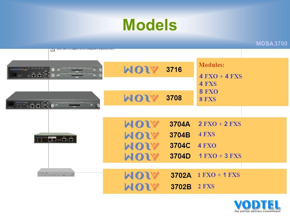 MOSA 3700 Modules: 4 FXO + 4 FXS 4 FXS 8 FXO 8 FXS 37163708 2 FXO + 2 FXS 4 FXS 4 FXO 1 FXO + 3 FXS 3704A 3704B 3704C 3704D 1 FXO + 1 FXS 2 FXS 3702A 3702B Models