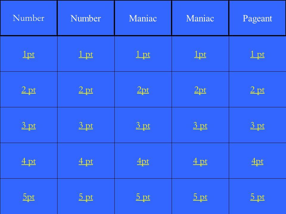 2 pt 3 pt 4 pt 5pt 1 pt 2 pt 3 pt 4 pt 5 pt 1 pt 2pt 3 pt 4pt 5 pt 1pt 2pt 3 pt 4 pt 5 pt 1 pt 2 pt 3 pt 4pt 5 pt 1pt Number Maniac Pageant