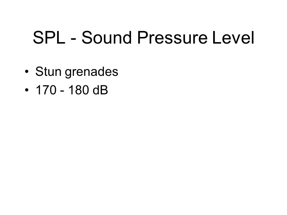SPL - Sound Pressure Level Stun grenades 170 - 180 dB