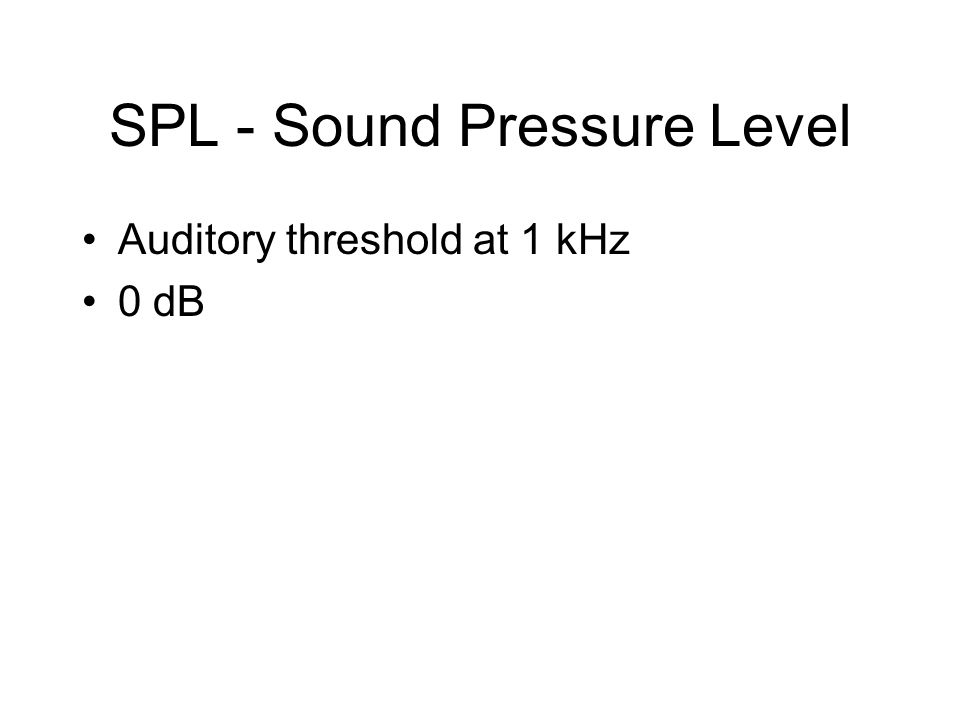 SPL - Sound Pressure Level Auditory threshold at 1 kHz 0 dB