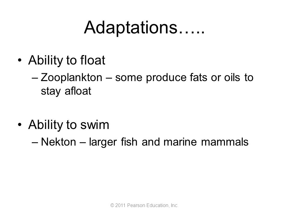 © 2011 Pearson Education, Inc. Adaptations…..