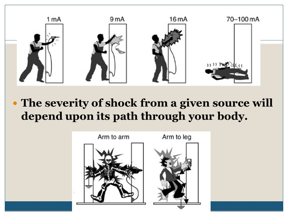The severity of shock from a given source will depend upon its path through your body.