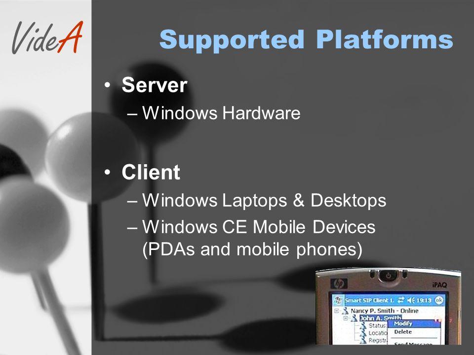 VideA Supported Platforms Server –Windows Hardware Client –Windows Laptops & Desktops –Windows CE Mobile Devices (PDAs and mobile phones)