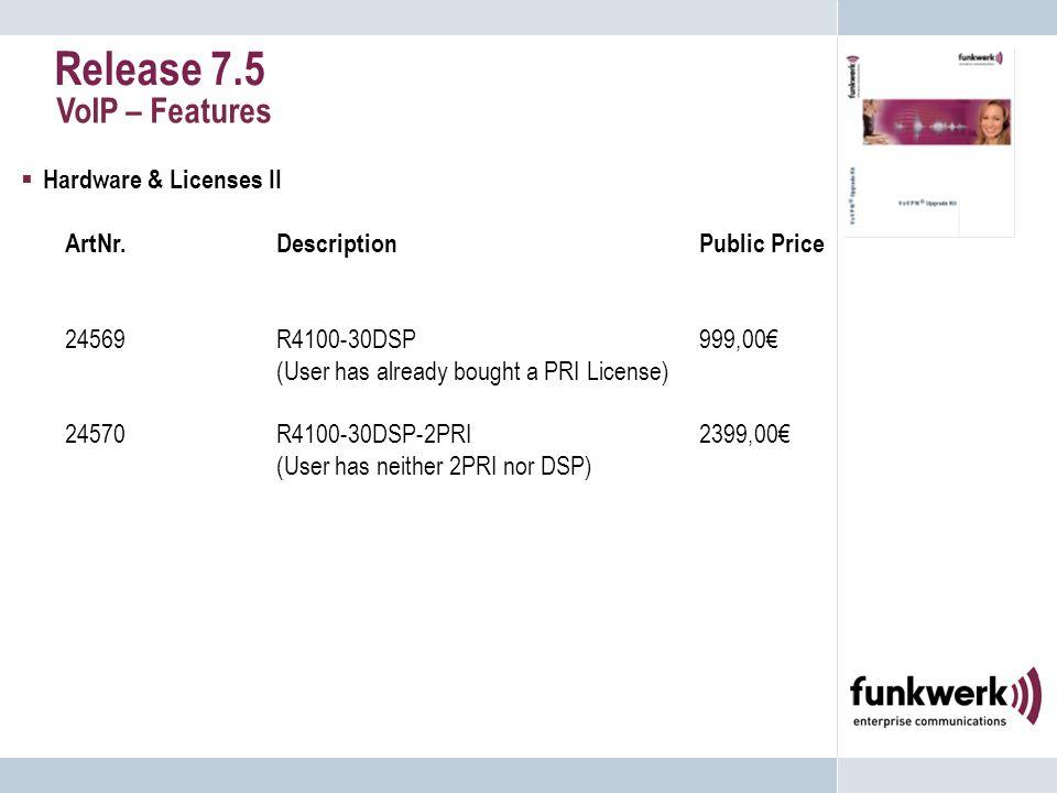 Release 7.5 VoIP – Features  Hardware & Licenses II ArtNr.