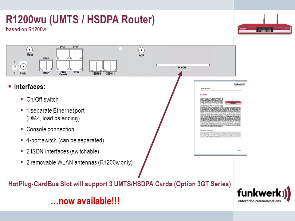 R1200wu (UMTS / HSDPA Router) based on R1200w …now available!!.