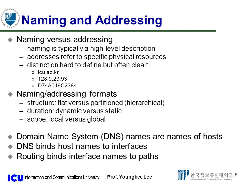 Prof. Younghee Lee 66 The RFC Algorithm